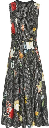 Oscar de la Renta Sleeveless Belted Pleated Dress