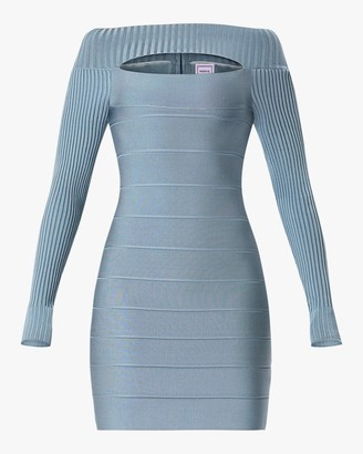 Herve Leger Cutout Boatneck Mini Dress