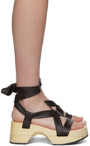 Jil Sander Brown Strap Wedge Sandals
