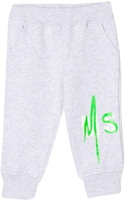 MSGM Grey Sport Trousers With Logo