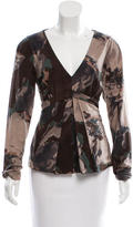Etro Wool Printed V-Neck Top w/ Tags