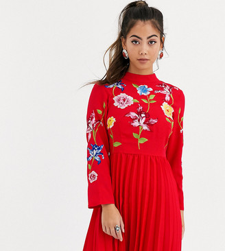 ASOS DESIGN Petite pleated embroidered mini dress in red