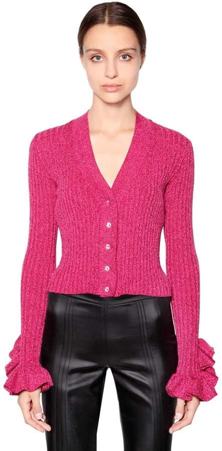 Marco De Vincenzo Cotton & Lurex Knit Cardigan W/ Crystals