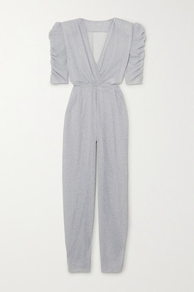 Oseree Lumiere Wrap-effect Ruched Stretch-lurex Jumpsuit - Silver