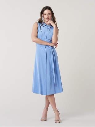 Diane von Furstenberg Demi Silk Collared Midi Dress