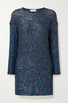 Saint Laurent Sequined Knitted Mini Dress - Cobalt blue