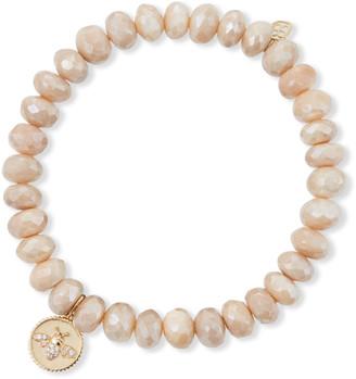 Sydney Evan 14k Diamond Bee Coin Sand Moonstone Bracelet