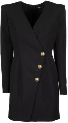 Balmain Short Black Wool Cache-c Ur Dress