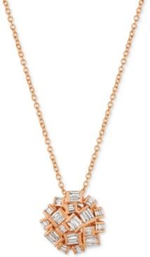 LeVian Le Vian Baguette Frenzy Diamond Cluster Pendant Necklace (3/8 ct. t.w.) in 14k Rose Gold