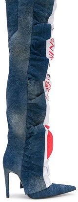 Diesel Red Tag Ruched Denim Over The Knee Boots