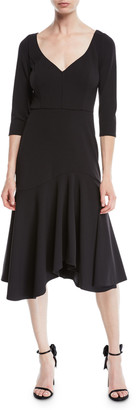 Halston V-Neck Midi Dress w/ Flounce Skirt