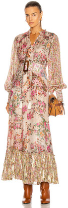 HEMANT AND NANDITA Kilim Maxi Dress in Peach   FWRD