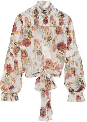 Nicholas Tie-front Floral-print Shirred Silk-chiffon Blouse