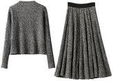 Drasawee Women's Winter 2 Pieces Scoop Neck Sweater Tops and Midi Skirt Set