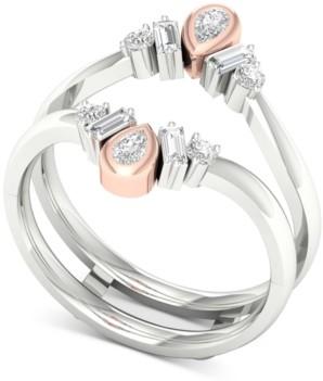 Macy's Diamond Two-Tone Tiara Enhancer Ring (3/8 ct. t.w.) in 14k White Gold & Rose Gold
