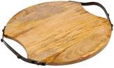 Godinger Medium Iron Handle Round Wood Tray