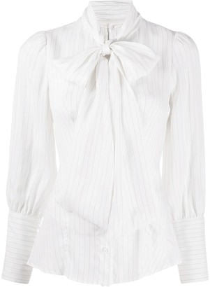 Dondup Pinstripe Pussy-Bow Blouse