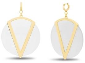 Catherine Malandrino Women's Flat Disc Huggie Hoop Earrings