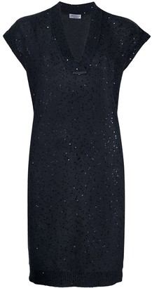 Brunello Cucinelli Sequin-Embroidered Knit Dress
