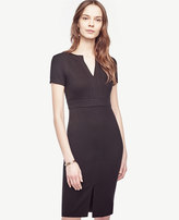 Ann Taylor Stitched Split Neck Sheath Dress