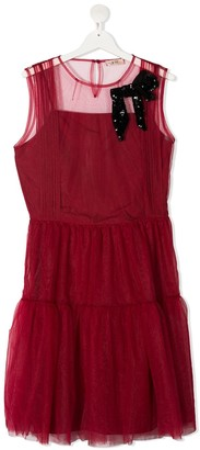 No21 Kids TEEN bow-detail tiered dress