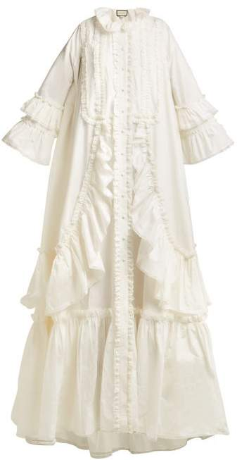 Gucci Ruffle Trimmed Cotton Poplin Gown - Womens - Ivory