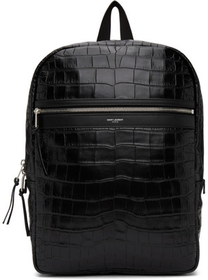 Saint Laurent Black Croc Laptop City Backpack