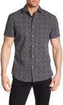 Slate & Stone Patterned Short Sleeve Trim Fit Shirt