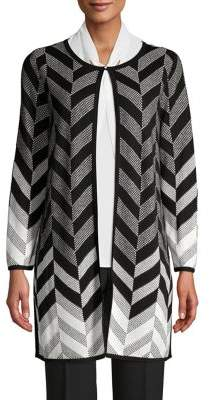Kasper Herringbone-Print Cotton-Blend Cardigan