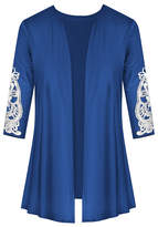 Udear UDEAR Women's Open Cardigans Cobalt - Cobalt Blue Lace-Accent Three-Quarter Sleeve Open Cardigan - Women & Plus