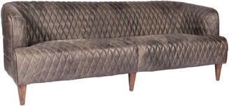 Moe's Home Collection Magdelan Tufted Leather Sofa Antique Ebony
