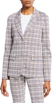 Rosetta Getty Plaid Jersey Fitted Jacket