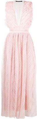 Deep-V Flared Dress