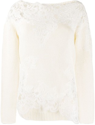 Ermanno Scervino Lace-Panels Knit Jumper