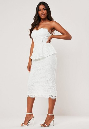 Missguided White Lace Cupped Peplum Bodycon Midi Dress