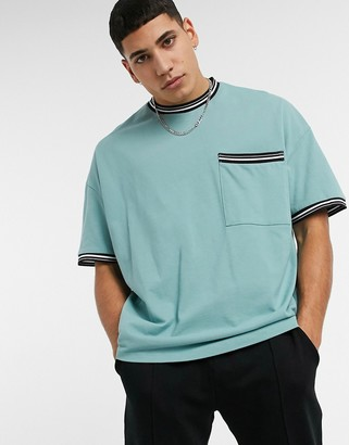 ASOS DESIGN oversized pique T-shirt with tipping and pocket in blue