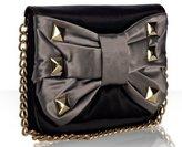 black satin 'Jean' studded bow clutch
