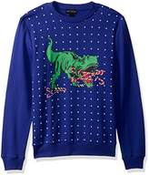 Alex Stevens Men's Candy Cane T-Rex Ugly Christmas Sweater