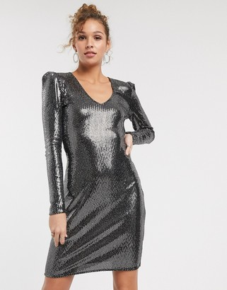 Pimkie sequin midi dress in sliver