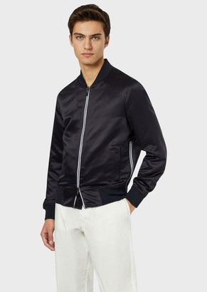Emporio Armani Satin Bomber With Logo