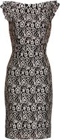 Gina Bacconi Black pearl stretch floral lace dress