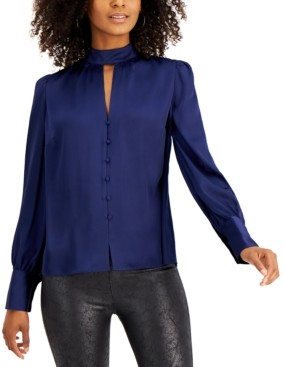 Bar III Keyhole-Cutout Blouse, Created for Macy's