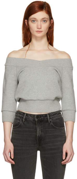 Alexander Wang Grey Cropped Sweater