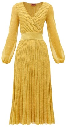 Missoni V-neck Balloon-sleeve Ribbed-knit Dress - Womens - Gold