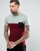 Fred Perry Colour Block T-shirt With Pocket In Green