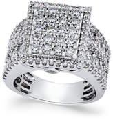 Macy's Diamond Square Cluster Engagement Ring (3 ct. t.w.) in 14k White Gold