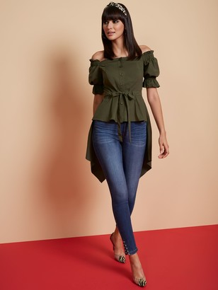 New York & Co. Off-The-Shoulder Hi-Lo Poplin Shirt