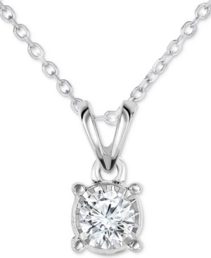 """TruMiracle Diamond Solitaire 18"""" Pendant Necklace (1/4 ct. t.w.) in 14k White Gold"""