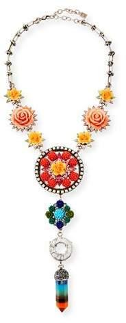 Dannijo Peony Floral Statement Y-Drop Necklace