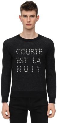 Saint Laurent Courte Est La Nuit Wool Blend Sweater